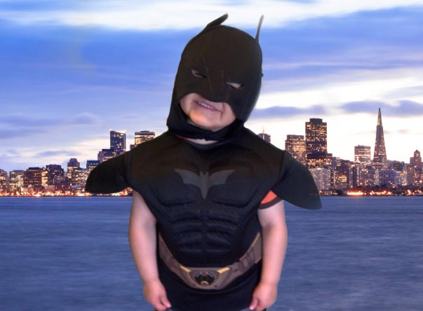 Batkid Miles with San Francisco Skyline