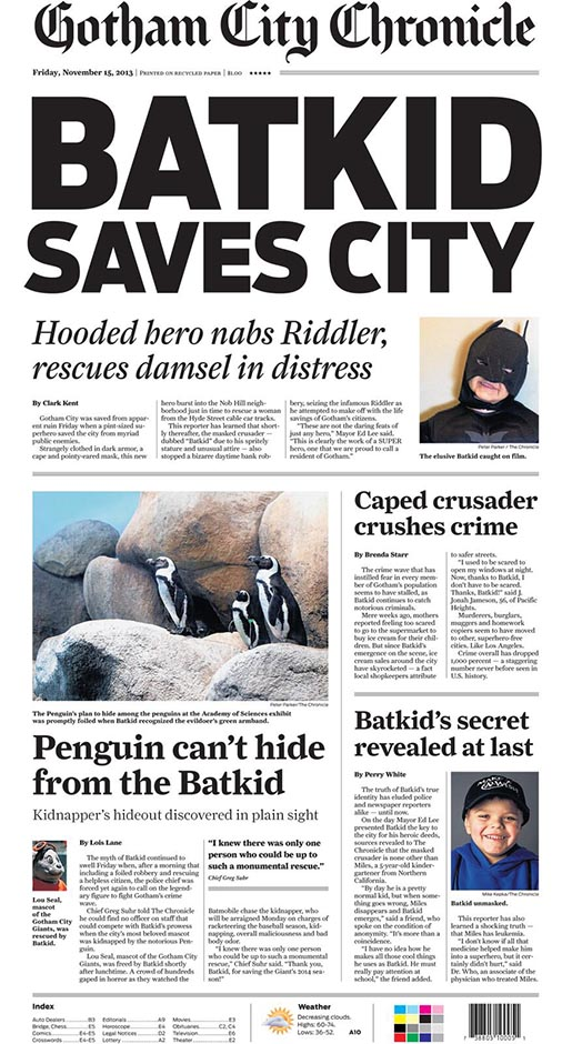 San Francisco Chronicle Batkid edition