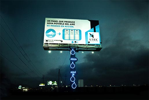 UTEC Water Billboard at night