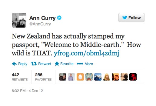 Ann Curry Twitter Middle Earth Passport Stamp Facebook photo