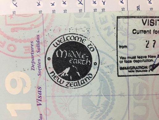 Middle Earth New Zealand Passport Stamp
