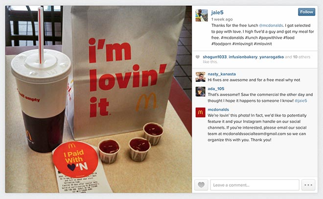 McDonalds Pay With Loving campaign - I Paid with love Instagram
