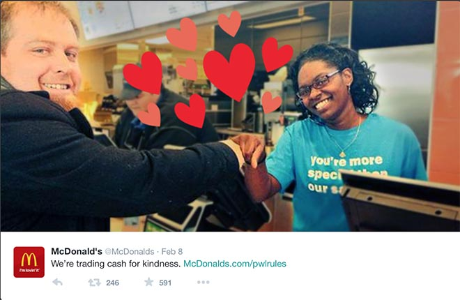 McDonalds Trading Cash for Kindness