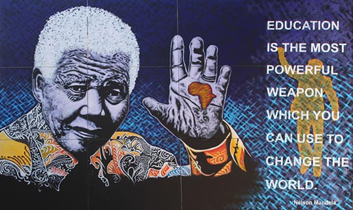 Nelson Mandela by John Adams with education quote