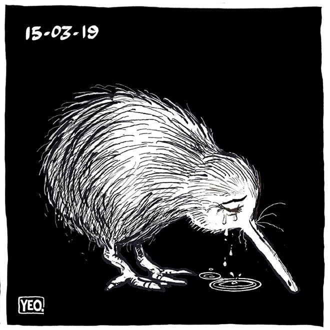 Weeping kiwi - cartoon by Shaun Yeo