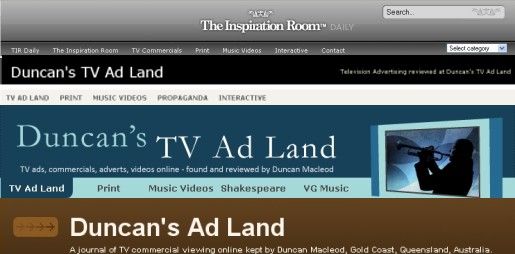 Five Years of headers for Duncan's TV Ad Land and The Inspiration Room Daily