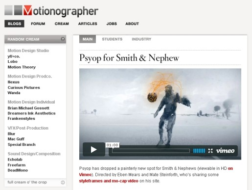 Motionographer screen shot