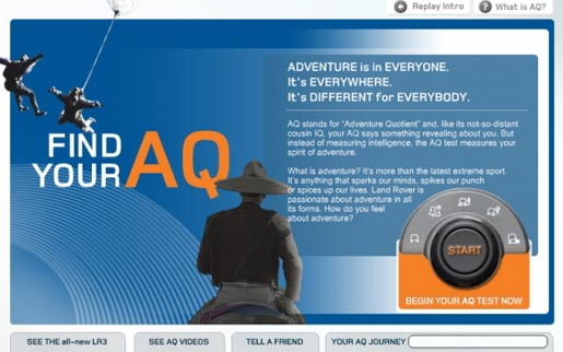 Landrover Find Your Adventure Quotient site