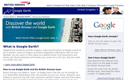 British Airways Google Earth web site