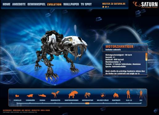 Saber Toothed Tiger Mechanized in Saturn interactive site