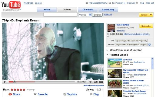 YouTube Wide Screen 960 pixels with Elephant's Dream Video