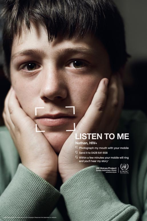 Nathan a 13 year old born with AIDS in UN Voices campaign