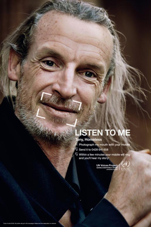 Tony - homeless in UN Voices campaign
