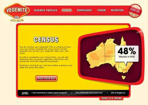 Vegemite Census screen shot