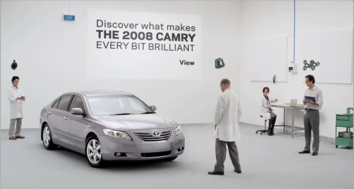 Screen shot from Toyota Camry site