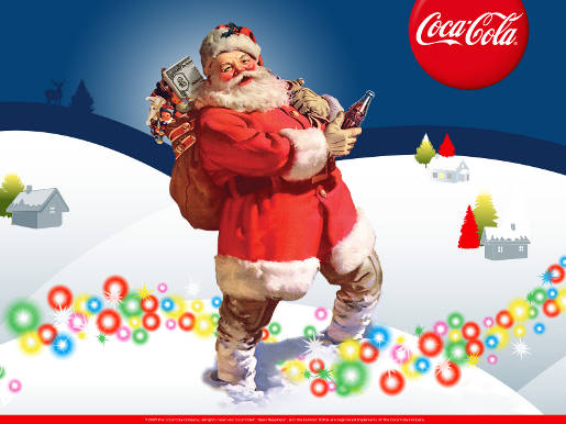 Coca Cola Xmas Wallpaper with Father Christmas and Fairylights
