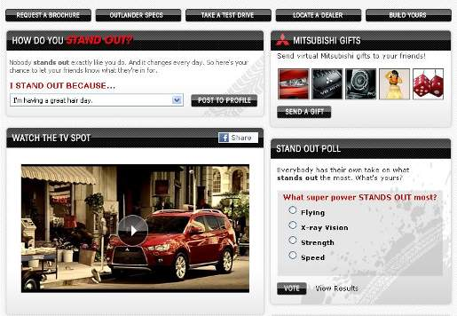 Mitsubishi Outlander stands out on Facebook