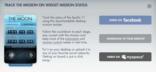 We Choose the Moon site mission status widget