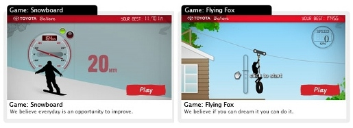 Toyota Believe interactive games from New Zealand