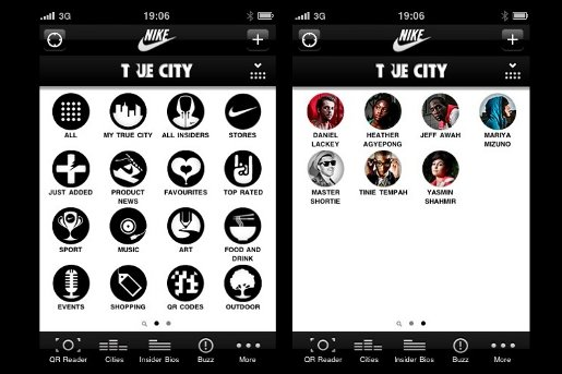 Nike True City App menu