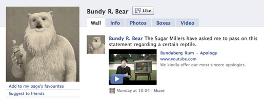 Bundaberg Bundy R. Bear Facebook page