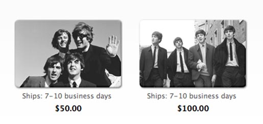 The Beatles iTunes cards
