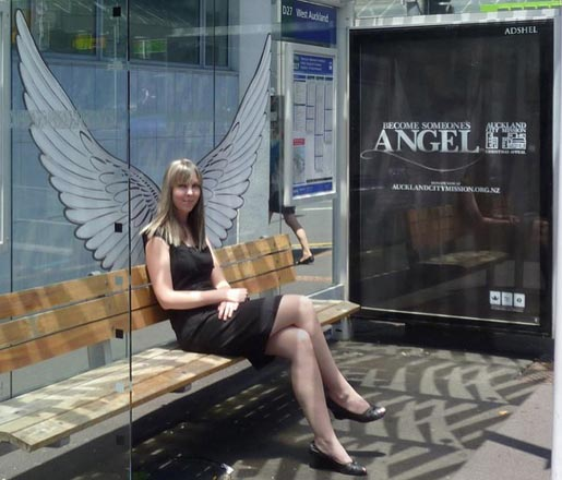 Auckland City Mission Bus Shelter Angel
