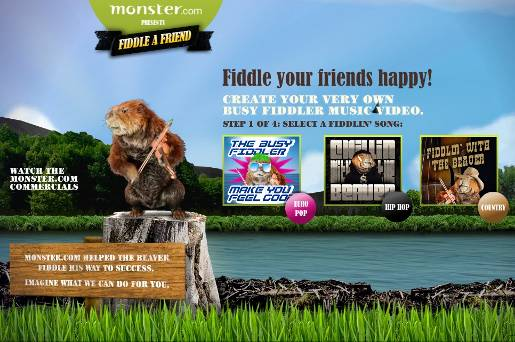 Monster.com Fiddle a Friend site
