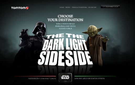 TomTom Star Wars page Choose Your Destination