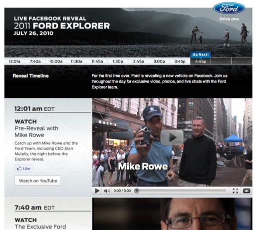 Ford 2011 Explorer Reveal on Facebook