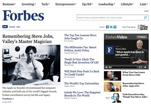 Forbes Tribute to Steve Jobs