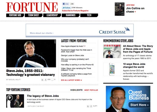 Fortune Tribute to Steve Jobs