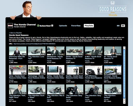 Honda Good Reasons Youtube Playlist with Patrick Warburton