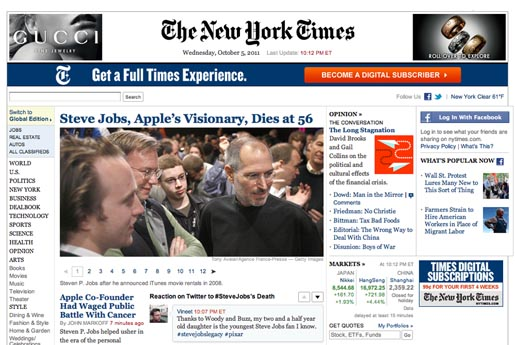 New York Times Tribute to Steve Jobs