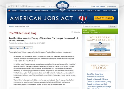 White House Blog Tribute to Steve Jobs