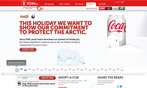 Coca Cola icoke.ca Polar Bears site