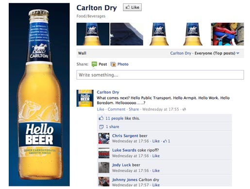 Carlton Dry Hello Beer on Facebook