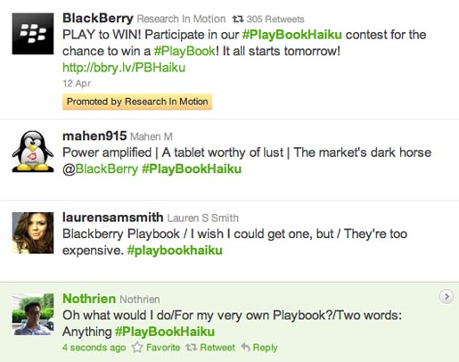 Blackberry Playbook Haiku contest