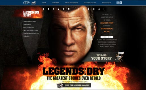 Carlton Dry Legends site with Steven Seagal