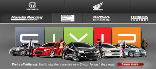 Honda To Each Their Own site
