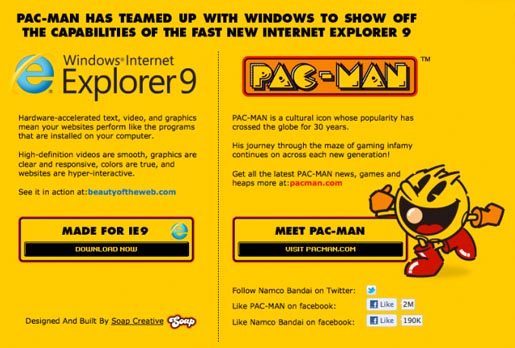 Pac-Man and Internet Explorer 9
