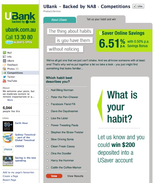 UBank Habits Facebook contest