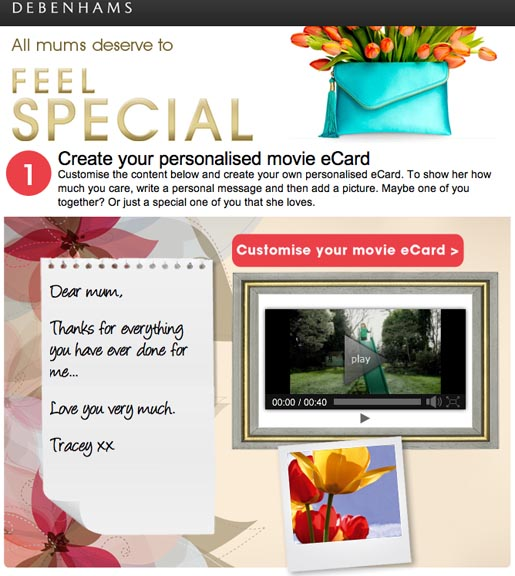 Debenhams Feel Special Mothers Day video site