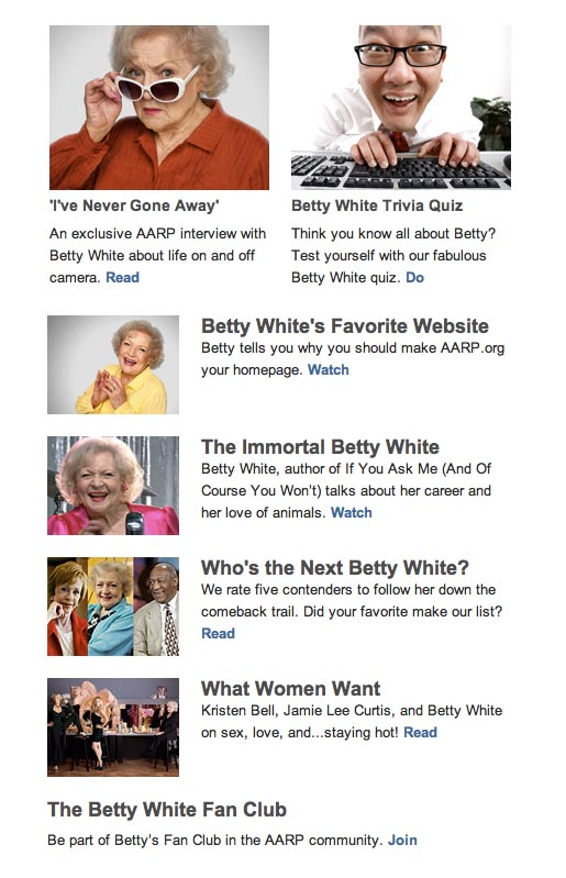 Betty White on AARP