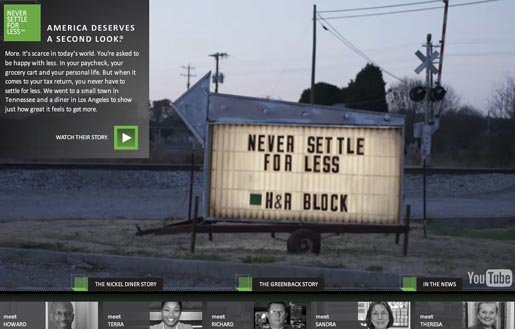 H&R Block Never Settle for Less Greenback