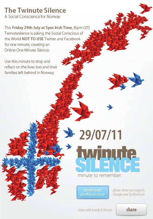 Twinute Silence for Norway Facebook