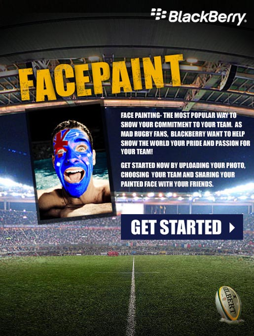 Blackberry Rugby World Cup Facepaint