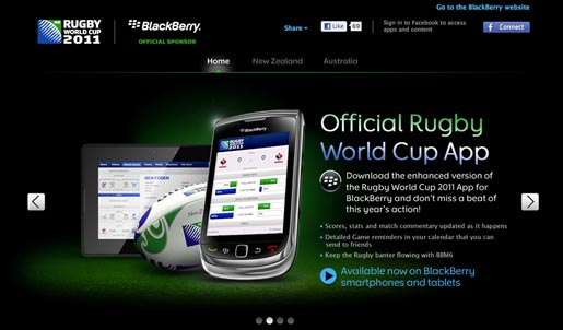 Blackberry Rugby World Cup app