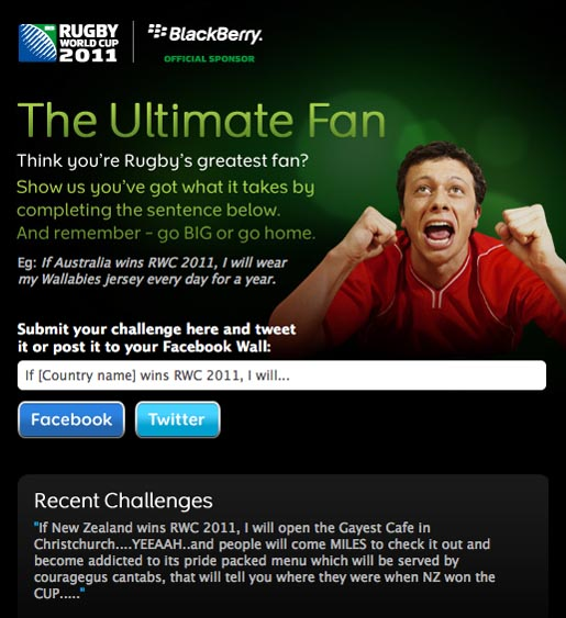 Blackberry Rugby World Cup Ultimate Fan