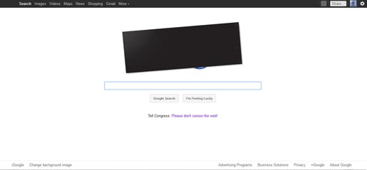 Google SOPA PIPA Blackout protest